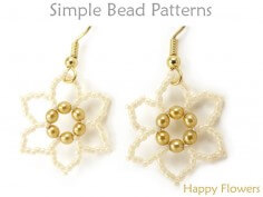 Easy Beading Pattern Beaded Flower Earrings & Beaded Flower Necklace