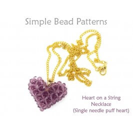 Puff Heart Necklace Beaded Heart Pattern Necklace Tutorial