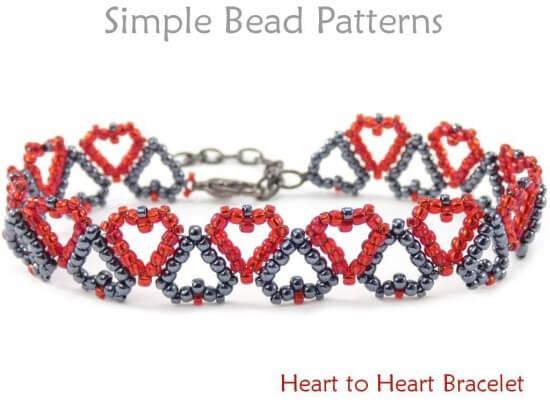 Heart bracelet pattern jewelry making beading tutorial for Simple beaded jewelry patterns