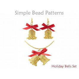 Beaded Bell Pattern for Christmas Earrings and a Christmas Necklace