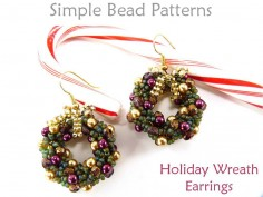 Beaded Christmas Wreath Earrings Jewelry Making Beading Pattern