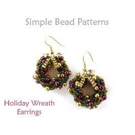 Beaded Christmas Wreath Earrings Jewelry Making Beading Pattern