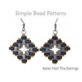 Half Tila Beaded Earrings Jewelry Making Pattern Simple Bead Patterns