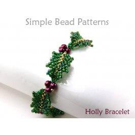 Beaded Holly Leaf Pattern DIY Christmas Bracelet Beading Pattern