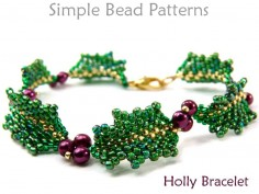 Beaded Holly Leaf Pattern DIY Christmas Bracelet Beading Pattern