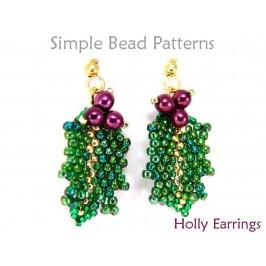 Beaded Holly Leaf Pattern DIY Christmas Earrings Beading Tutorial