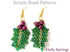 Beaded Holly Leaf Pattern DIY Christmas Earrings Beading Tutorial