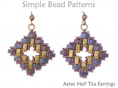 Half Tila Beaded Earrings Jewelry Making Pattern Simple Bead Patterns