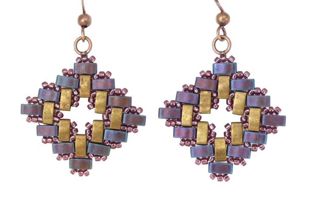 Aztec Half Tila Beaded Earrings