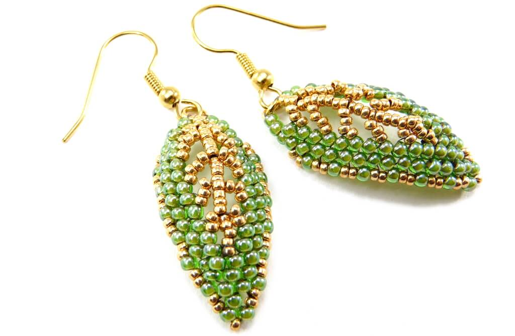 Gilded Leaf Earrings Russian Leaf Beading Pattern