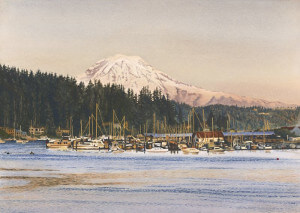 A watercolor painting Lane did of our hometown Gig Harbor, WA
