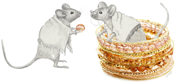 Mice Making Beaded Bangle Beading Pattern